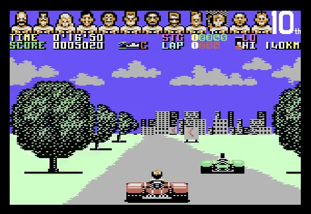 POWER DRIFT on COMMODORE 64 (Activision 1990)  Buggy Boy's C64 competitor, great reviews (94% score on Zzap!64), also a fun and smoothly playable racer. Catchy in-game tune by Dave Lowe (Uncle Art)  #commodore #c64 #retrogaming #chiptune #8bit #C64Retweets #SEGA #パワードリフトpic.twitter.com/Fht8hhRCGt