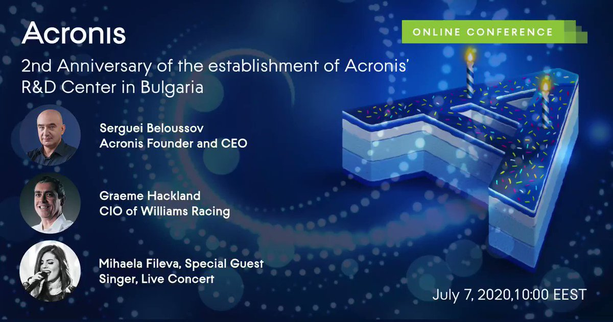 Join our CIO Graeme Hackland tomorrow to celebrate the second anniversary of @Acronis opening its R&D centre in Bulgaria 👉 https://t.co/haXpOP4THq   #CyberFit #WeAreWilliams 💙