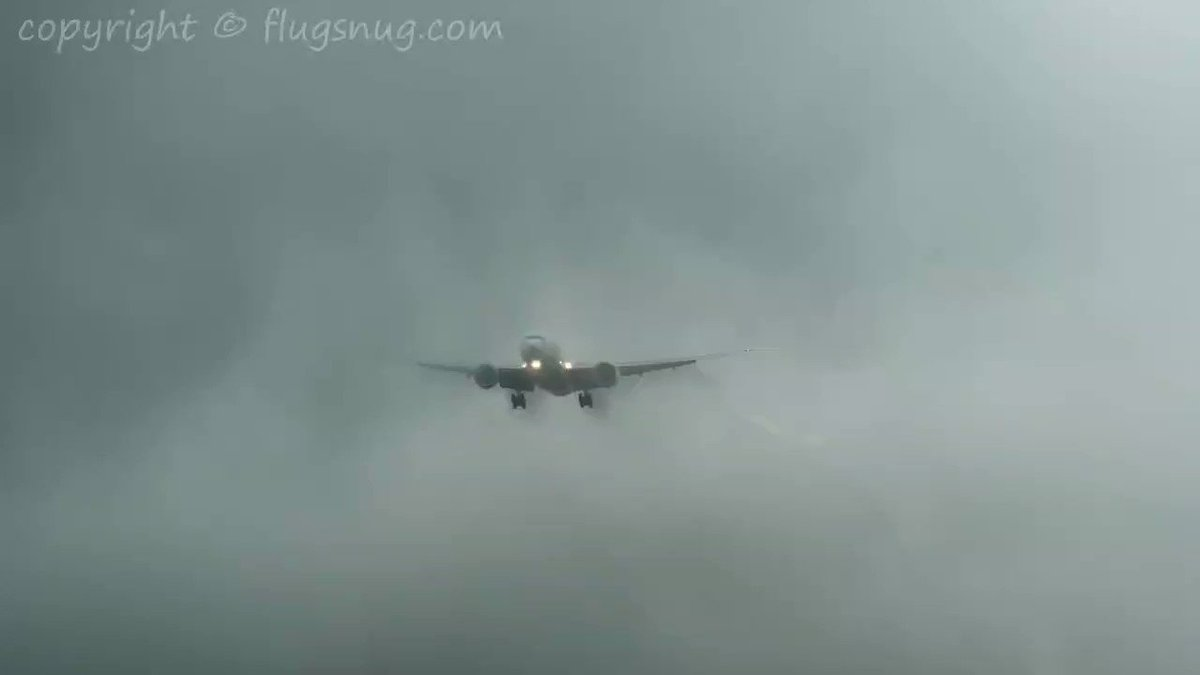 Aircraft landing during storm and heavy rains. That's how it looks from the outside.