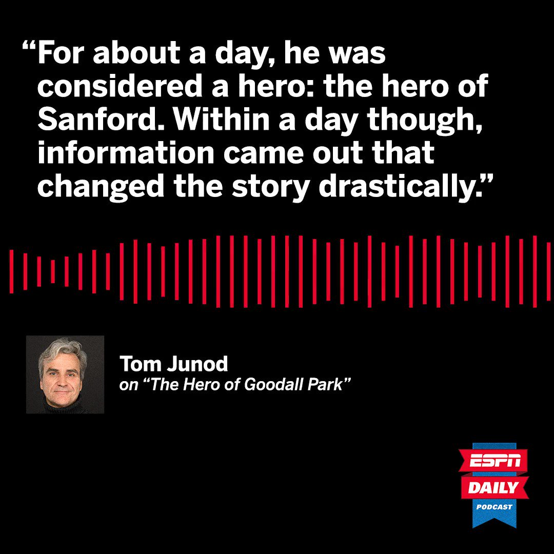 Two years ago, a man died trying to save children on a little league field and was hailed as a hero—but his story turned out to be much more complicated. The wonderful @TomJunod shares his latest piece on ESPN Daily today. Listen here: apple.co/2NIRAfa
