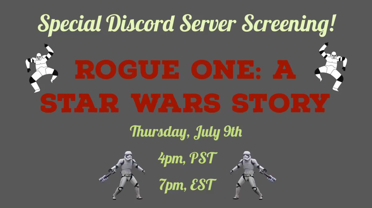 It's been a while! Join me and @AliceWhiteTHP as we watch Rogue One: A Star Wars Story this Thursday, July 9th.  We'll be preparing our notes for the July episode of @roguefunpod! To see the stream, join the Those Happy Podcasts Discord Server: