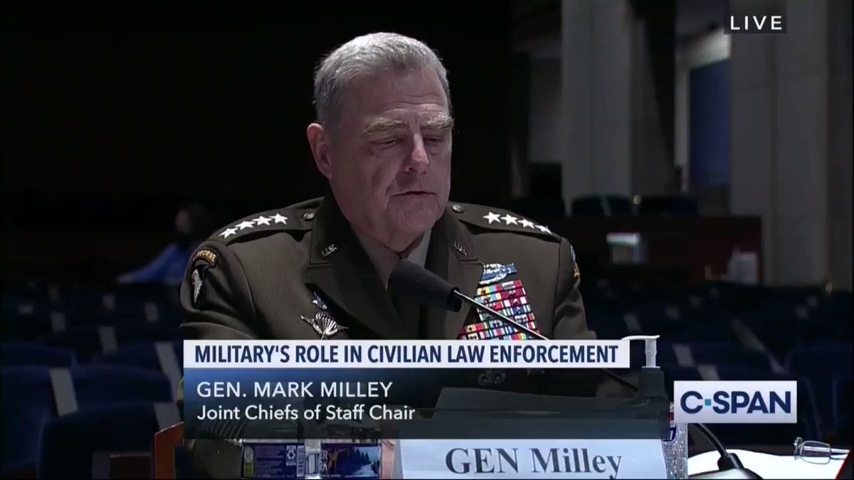 "WATCH: Gen. Mark Milley ""continually assessed and advised that it was not necessary to employ active duty troops.""  Trump wanted to deploy troops against peaceful protesters OVER the advice of his top military advisor."
