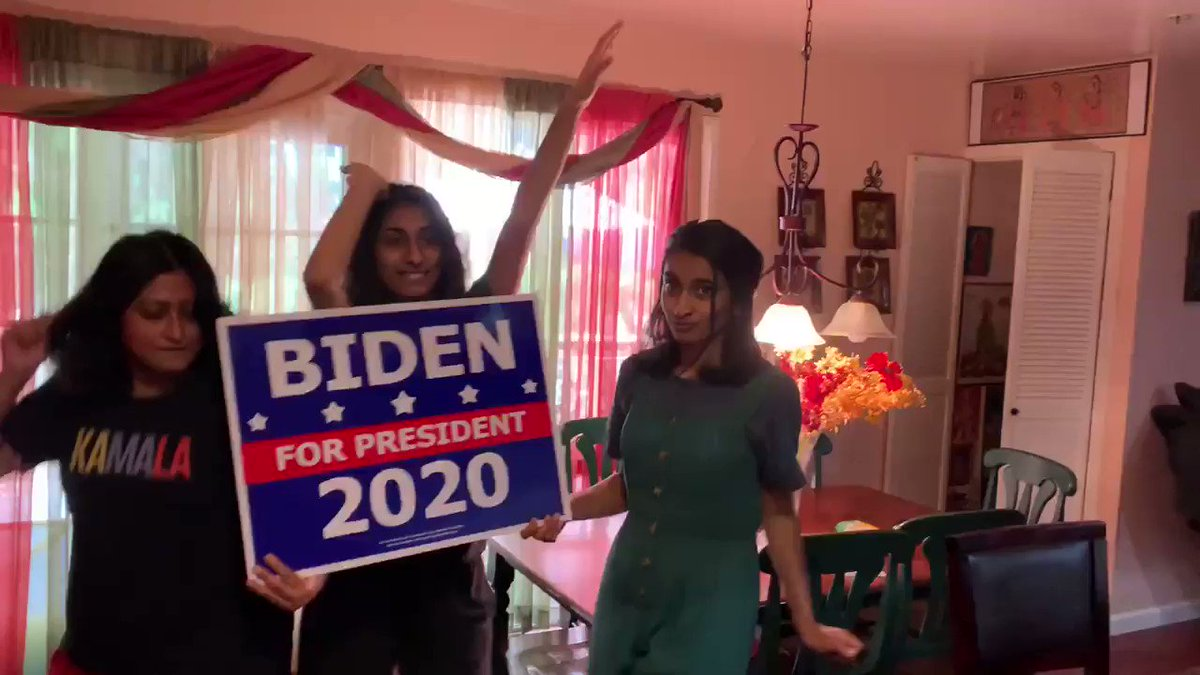 """Dancing with my girls to favorite tunes from """"Get Up Stand Up"""" Virtual Dance Party Hosted by @KamalaHarris & @DJCassidy in support of @JoeBiden! Share your pics dancing below my fellow Joyful Warriors!!!😎😎🎶🎶🥰"""