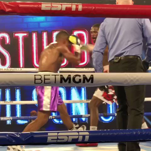 Middleweights are off and swinging 👀  Donte Stubbs floors Fred Wilson Jr., as the fireworks are coming early tonight in Las Vegas.  #TakamForrest | LIVE on ESPN https://t.co/R4lZE4u7RY
