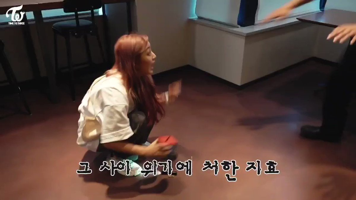 Jihyo got shocked and didnt pick up her flashlight so she started kicking softly to prevent the zombie touching her BABY 👶 @JYPETWICE