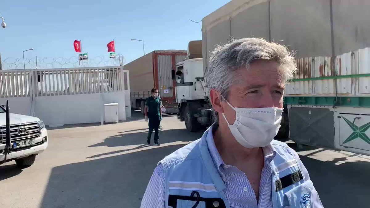 At Bab al-Salam border crossing today, where 31 trucks crossed from Turkey into NW #Syria carrying medicines & other relief supplies Hope it's not the last time the UN uses this crossing. We're counting on the Security Council to re-authorize both crossing points into NW Syria