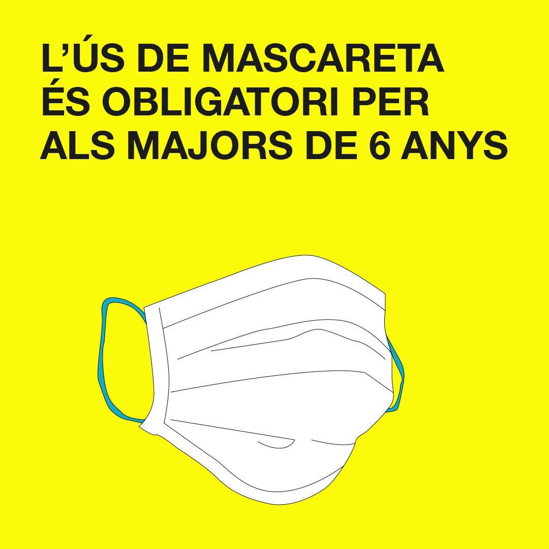 Image for the Tweet beginning: L'ús de mascareta és obligatori