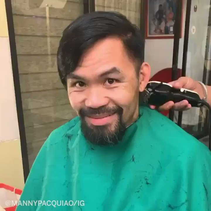 .@MannyPacquiao was excited to finally get a haircut 💇♂️  Here's a few other hairstyles he's had throughout the years. https://t.co/Mh1fos9ssz