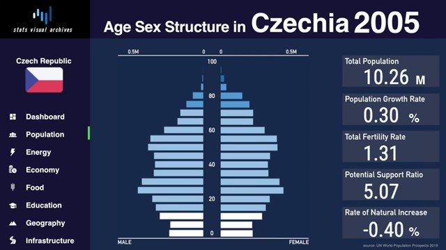 Czechia 🇨🇿  ============== Changing of Population Pyramid & Demographics (1950-2100)  Full on YouTube ▶︎ ==============  video : Stats Visual Archives source : UN World Population Prospects 2019  #Czechia #Prague