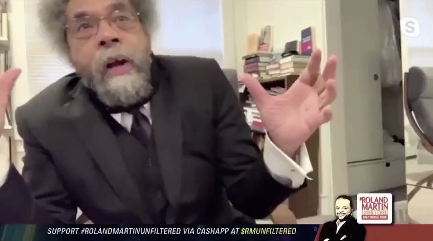 """Here's Cornell West defending Farrakhan this morning, falsely claiming that Farrakhan didn't say, """"Hitler was a great man.""""  Not a good look. 😬"""