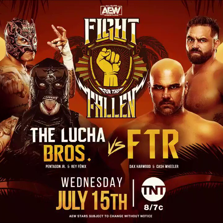 Two extremely successful tag teams with two completely different mindsets, visions & abilities! This looks like it's going to be pretty bad ass! LIVE this Wednesday #FightForTheFallen #AEWDynamite @tntdrama @ReyFenixMx @PENTAELZEROM @DaxHarwood @CashWheelerFTR