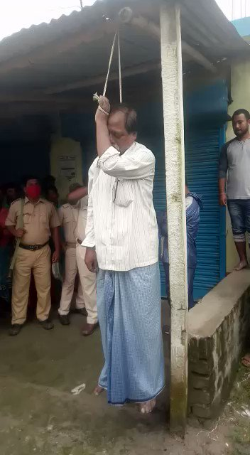 Body of Shri Debendra Nath Ray, BJP MLA from Hemtabad, a reserved seat, in Uttar Dinajpur, was found hanging like this in Bindal, near his village home. People are of the clear opinion that he was first killed & then hung.  His crime? He joined the BJP in 2019.  Om Shanti. https://t.co/Zqbh1BZZIq