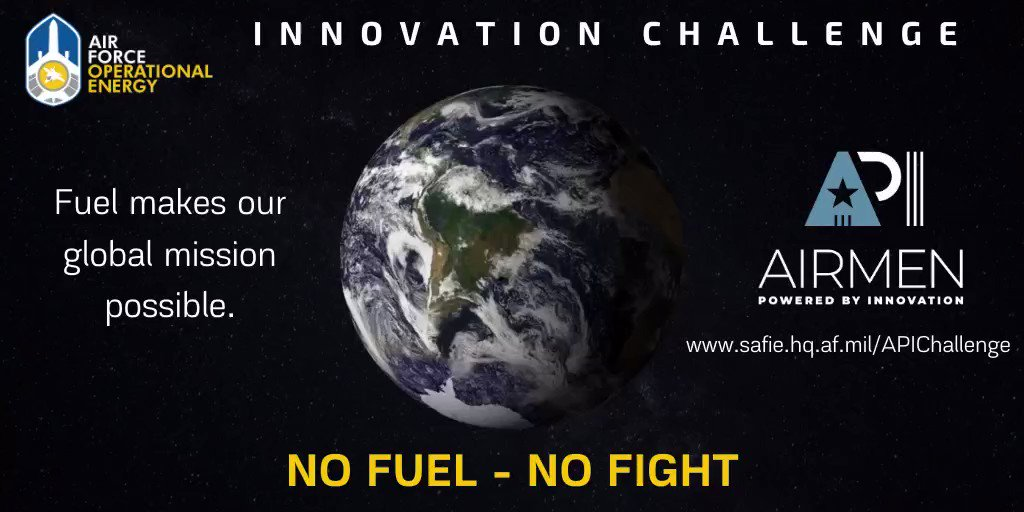 Hey Innovators! Weve officially launched our @AFWERX #InnovationChallenge and we need your input! Have a burning idea to reduce fuel…burn? 😏 Let us know 👉 go.usa.gov/xweBr @AFWERXChallenge @AirMobilityCmd @usairforce @HQ_AFMC @USAF_ACC