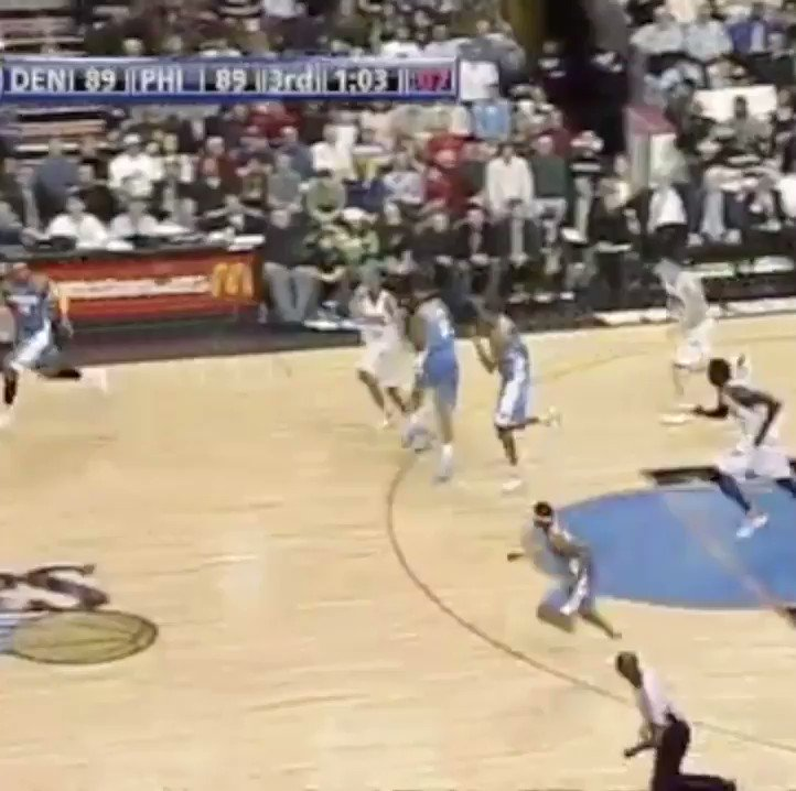 Throwback to Carmelo Anthony putting Andre Miller on a poster in 2008! Cornrows Melo was so tough 🔥🔥