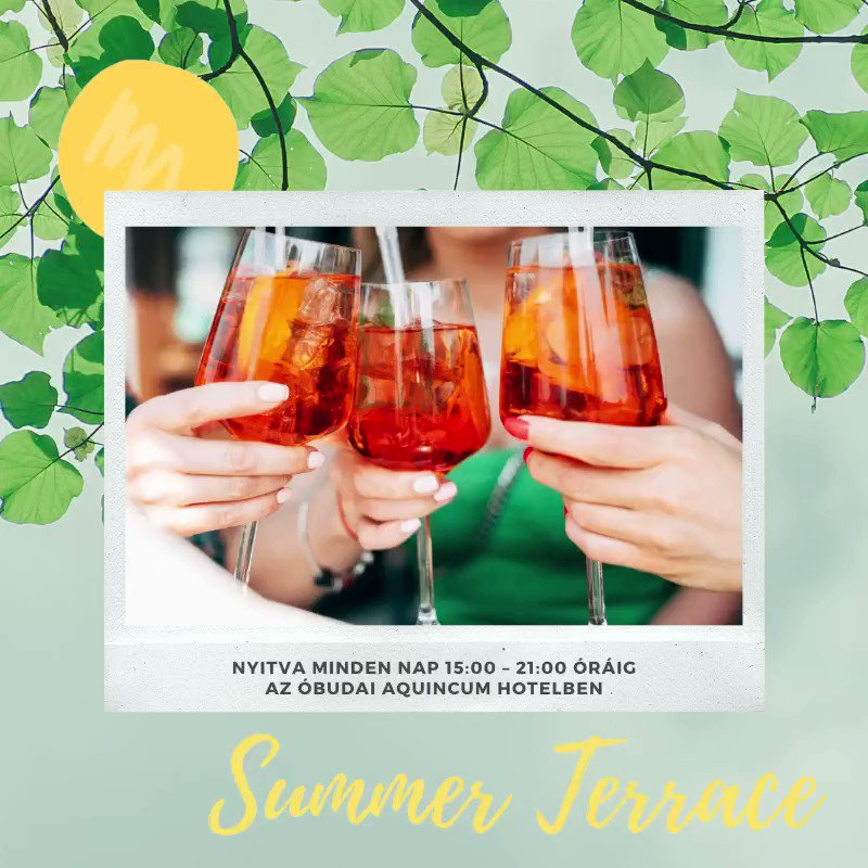 Summer feeling and summer drinks on our Summer Terrace Come and refresh yourself with a summer cocktail on our Summer Terrace which is located in front of the Aquincum Hotel Budapest. Open every day: 3-9 p.m. https://t.co/w768RWJAOs