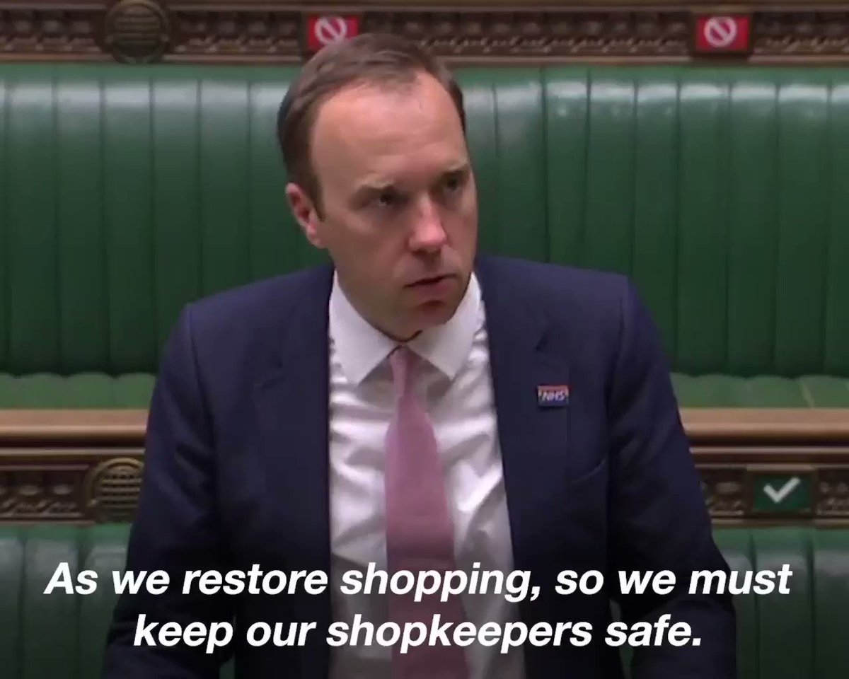 As we restore shopping, we must keep shopkeepers safe, & make shoppers feel even more confident about returning to the high street. We have therefore come to the decision that face coverings should be mandatory in shops & supermarkets.