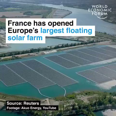 France just opened Europes largest floating #solar farm. It contains over 47,000 panels powering nearly 5,000 homes. We have the solutions, lets implement them. #ActOnClimate. #Climate #energy #tech #go100re #GreenNewDeal