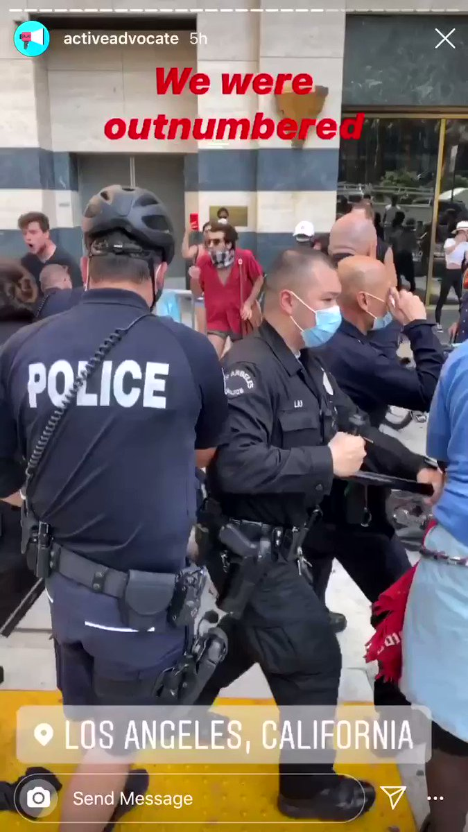 during a peaceful protest in LA this week the LAPD knocked a disabled man out of his wheelchair, and then they broke it. there is absolutely no excuse for this - it's disgusting. who exactly are they protecting & serving??? DEFUND THE POLICE @MayorOfLA @GavinNewsom @KTLAnewsdesk https://t.co/XYyAS5PmAd