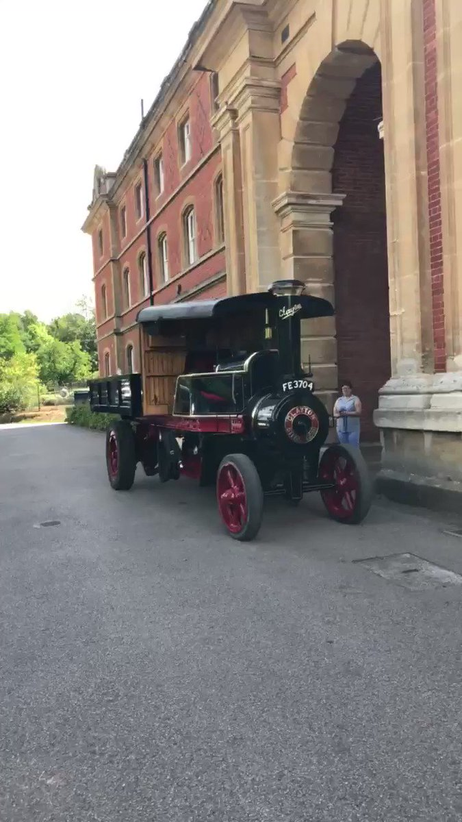 We had a rather exciting visitor stop by today....even sporting our school colours! Welcome on site Edward VI. #steamengine #KESWCommunity