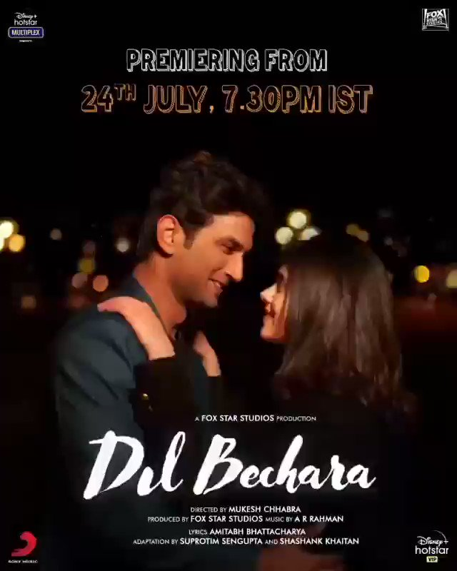 Most Awaited ! This is surely an blockbuster ❤️ #DilBechara today only on #Hostar ( 7:30 pm IST ) Congratulations to all ❤️🙏 #SushanthSinghRajput #DilBecharaDay
