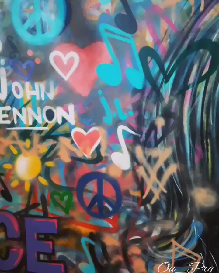 Lovely weekend to you all. John Lennon wall in Prague. Museum of art. Imagine...... #Prague #Czech #selfiemarket #summer #JohnLennon #Imagine