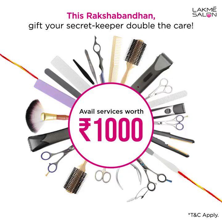 Gift her a day full of care worth ₹1000 & get services worth ₹1000 FREE* for them to enjoy some extra pamper. 📞 us on 1800-123-1952 or download the Lakmé Salon App *T&C Apply #rakshabandhan #offer #brotherandsister #pamper #sisiterlove #brother #booknow #visitnow #lakmesalon https://t.co/AT1CfMeqlX