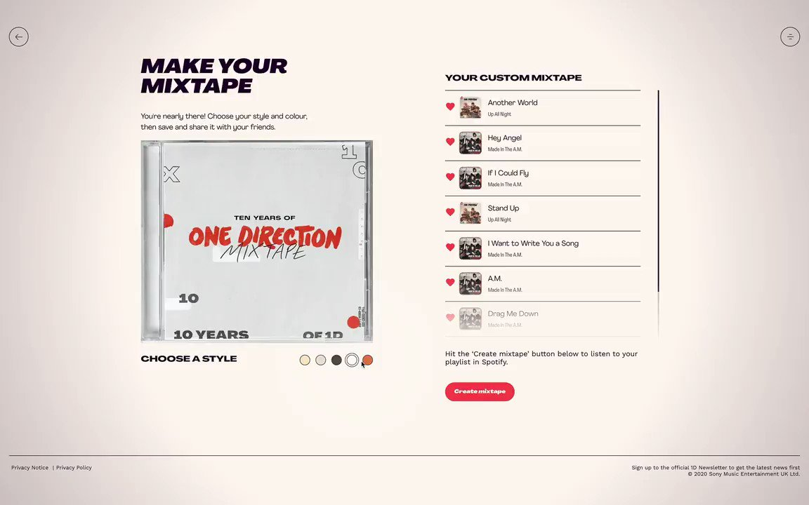 Have you explored the #10YearsOf1D website? Make sure you check back and connect via your @Spotify or @AppleMusic account to make your personalised mixtape if you haven't already! https://t.co/GrUHfaSMUp https://t.co/8i2h0t897C