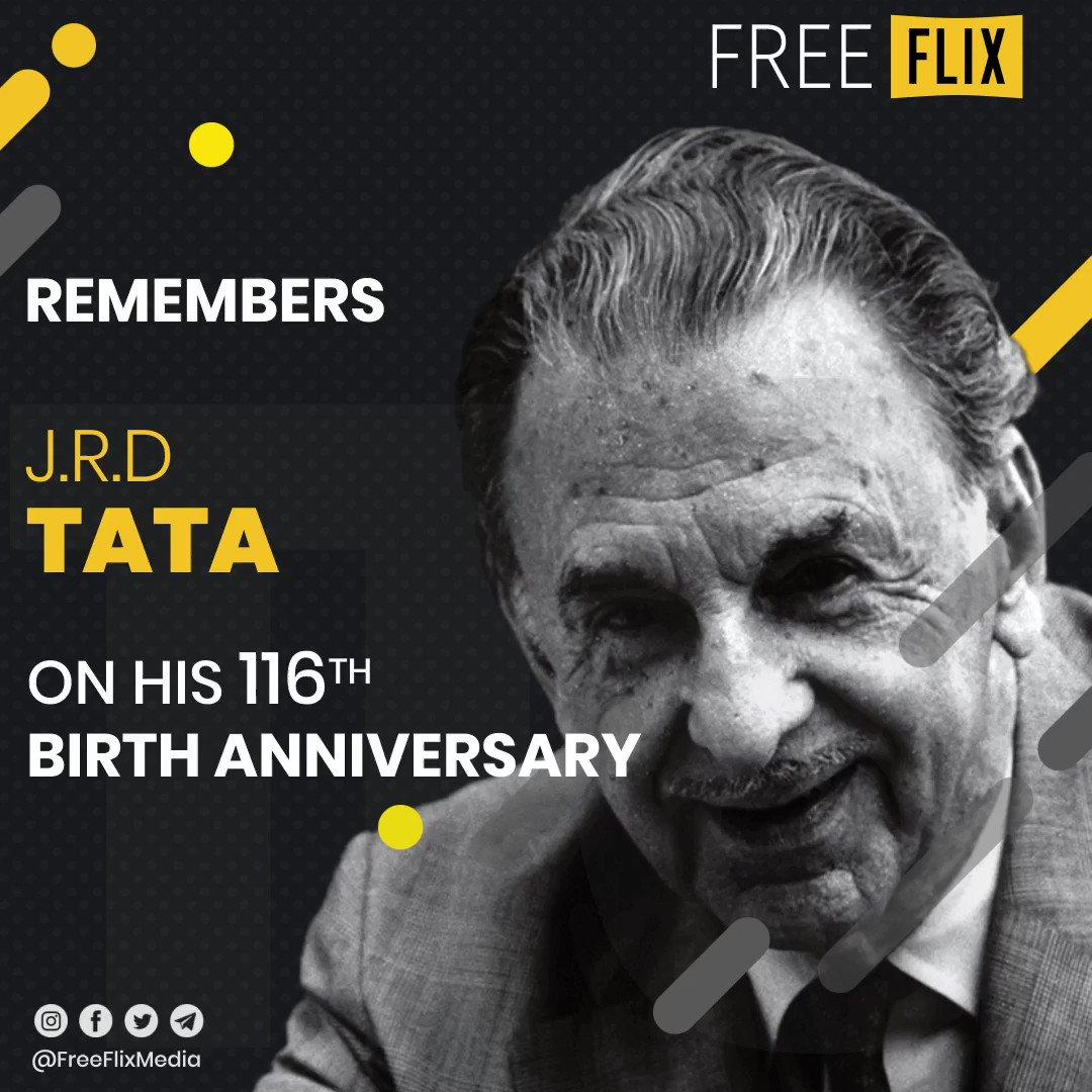 Here's a tribute to J R D Tata, former Chairman of @TataCompanies Group on his Birth Anniversary  #HappyBirthdayJRDTata #JRDTata #TataGroup #Industrialist #Businessman #BharatRatna #Legend #PadmaVibhushan #Indian  #FreeFlix #Hyderabad #IndiaFightsCorona #StayHomeStaySafe #COVID19 pic.twitter.com/rcL4H8ia2d