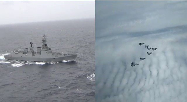 May You Touch the Sky With Glory The message from INS Kolkata to Arrow Leader while welcoming the Rafales in the Indian Ocean. @IAF_MCC @indiannavy