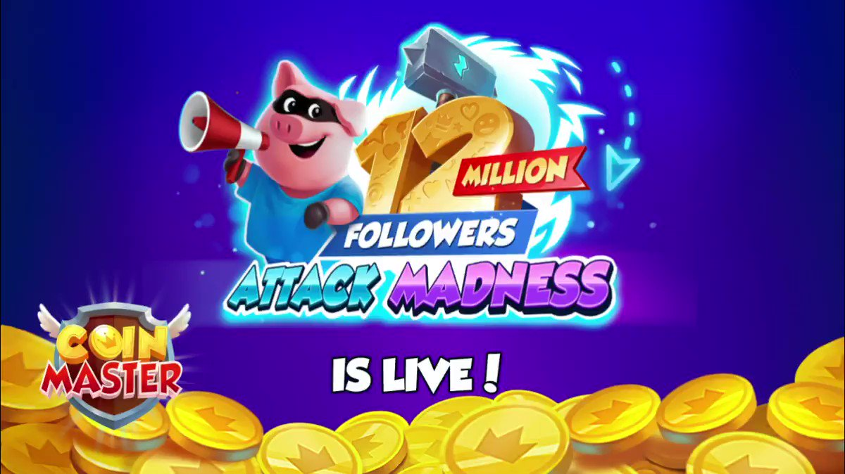 RT @CoinMasterGame: 12 Million Followers Attack Madness is live! 💫 Get attacking!  ▶️  https://t.co/8r1h2vNoFt https://t.co/qTyLcb2stv