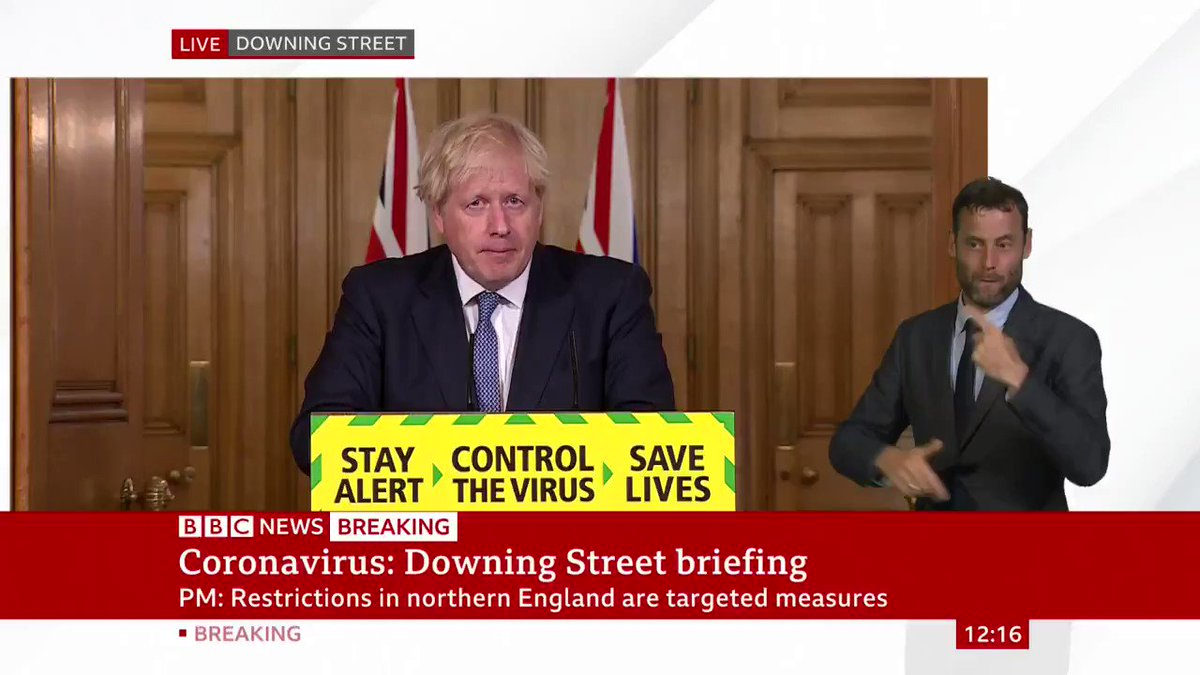 """""""Our assessment is that we should now squeeze that brake pedal... in order to keep the virus under control""""  PM Boris Johnson says easing of coronavirus restrictions in England - due to come in this weekend - will be postponed """"for at least a fortnight""""  https://t.co/LJqJVihBvU https://t.co/f5XFsrxW1B"""