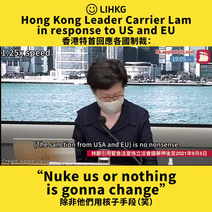 """Hong Kong Leader Carrier Lam in response to US and EU """"Nuke us or nothing is gonna change""""  原文 - 香港特首回應各國制裁:除非他們用核子手段(笑) https://t.co/GSFMR1YMXQ  #nuclear #sanction #HongKong #LIHKG https://t.co/xYCfhzejjE"""