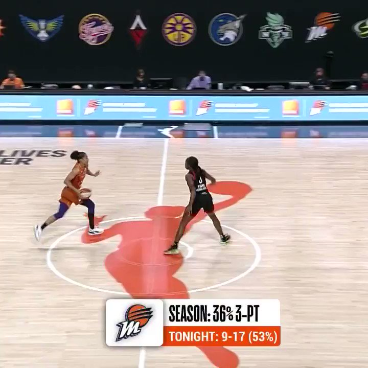 DT drains the 10th 3⃣ of the game for the @PhoenixMercury! #ATTtipoff  📺: @CBSSportsNet https://t.co/GqpPSjbtho