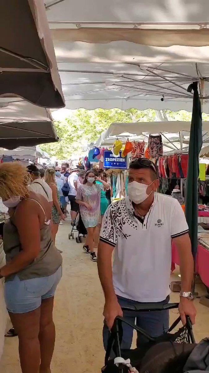 Social distancing in St Tropez market
