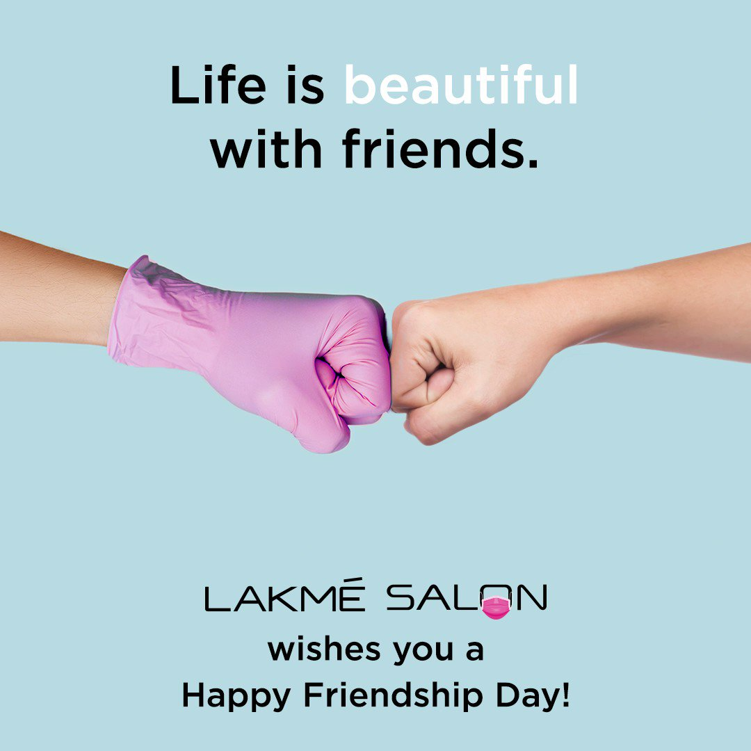 Ladies and Gentlemen, make this #FriendshipDay an unforgettable one - call it a date with your beauty BFF, Lakmé Salon Expert! Our renowned expertise and stringent hygiene is a perfect match for your skin, hair and makeup needs 🌻 #HappyFriendshipDay! . https://t.co/XLc5CepRFq