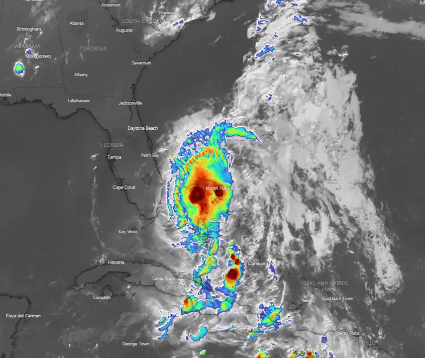 Image for the Tweet beginning: #TropicalStormIsaias massive buildups, wind 55-65
