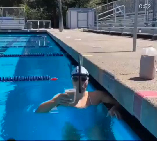 This is Katie Ledecky swimming the length of a pool without spilling a single drop of the chocolate milk balanced on her head.  Sometimes you think you've seen it all in sports, and then you come across what might be the most athletic thing I've ever seen