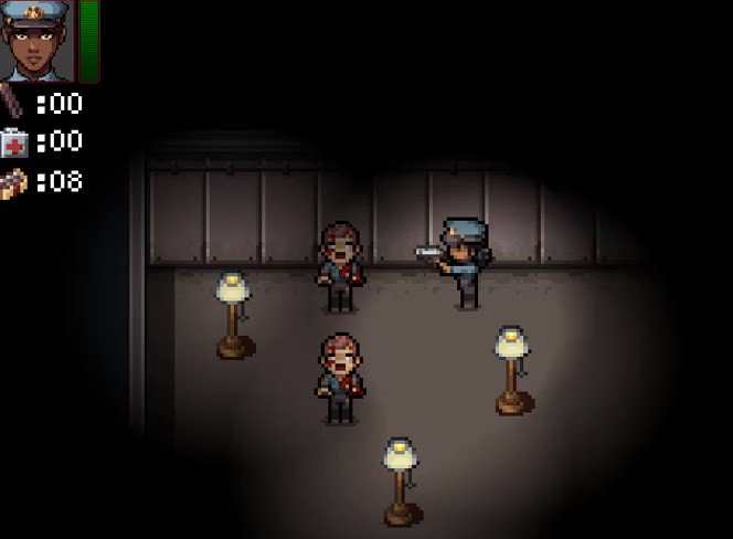 Some shooting, reloading and zombie dying mechanics.  #rpgmaker #rpgmakermv #indiegame #indiedev #gameart #horror #indiehorror #residentevil #style #gamepic.twitter.com/xWhfrPmHz8