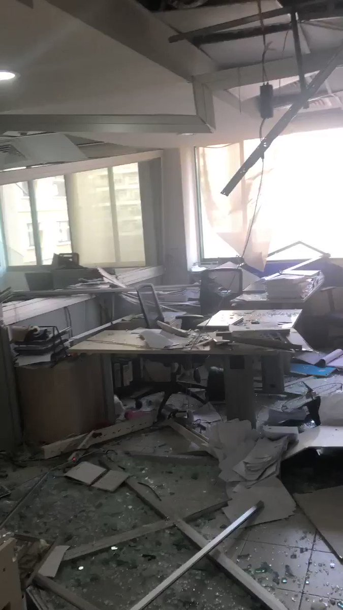 BREAKING: Massive explosion in Beirut. Footage from the daily star office now in Lebanon
