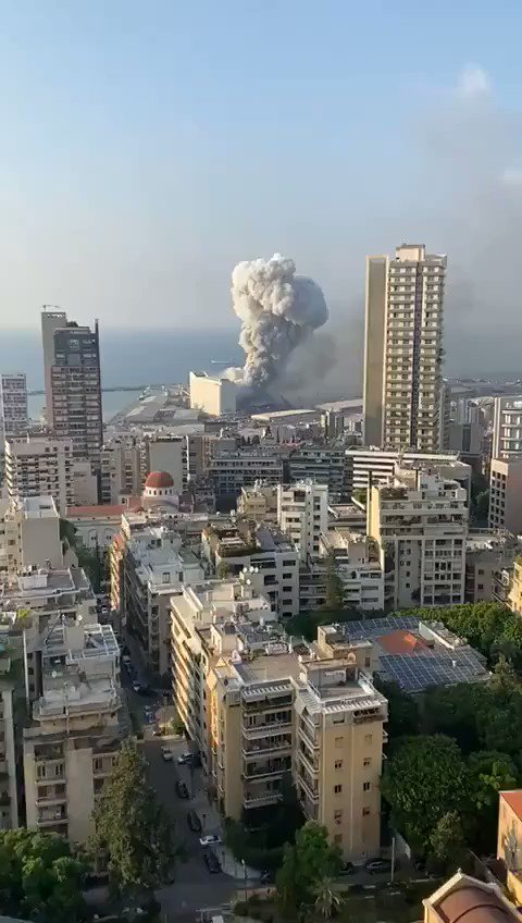 What looks like fireworks going off before the large explosion at the #Beirut port. #Lebanon https://t.co/D3PlidjjNA