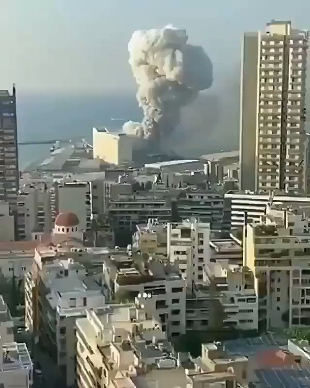 Massive explosion at #Beirut   May Allah protect all. Stay safe #Beirut https://t.co/x30DltWqel