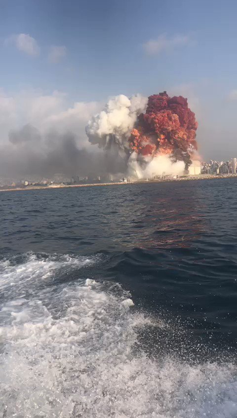 Insane what's happening in #Beirut .. friend of a friend took this while coming back from diving.. 😳 check the blast wave in the water!