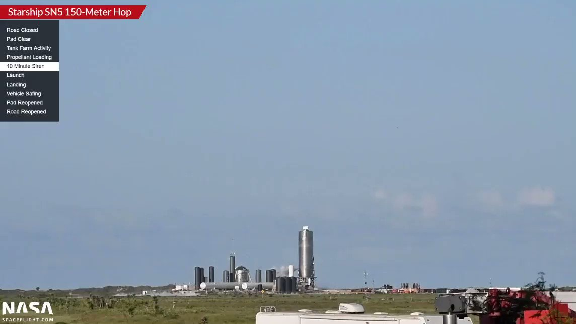 LAUNCH! Starship SN5 has launched on a 150 meter test hop at SpaceX Boca Chica.  Under the power of Raptor SN27, SN5 has conducted what looks like a successful flight!  Listen to the SpaceXers cheer!  Mary (@BocaChicaGal) filming history!  Livestream: https://t.co/rUNxATy7VJ https://t.co/p5UTRFd0gI