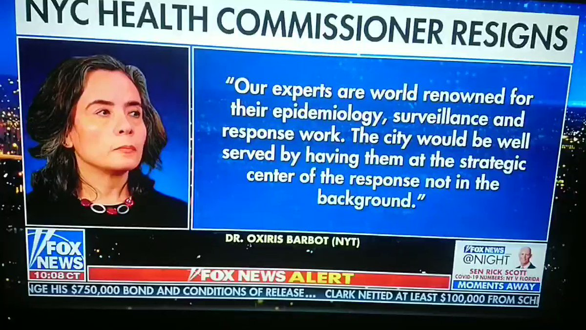 The lady who told folks in Feb go enjoy Chinatown NYC is OUT of DeBlasios health dept. Interesting...