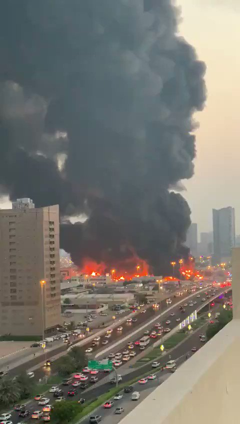 A large fire has broke out in the #Ajman market, located in the United Arab Emirates #UAE pic.twitter.com/g8ACVm9wPe
