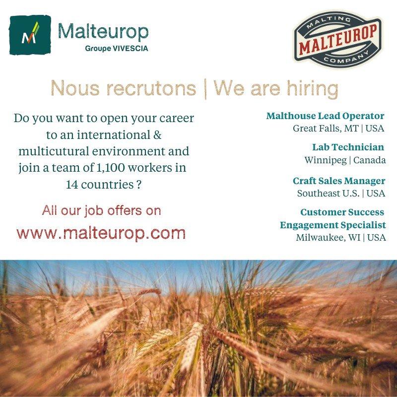 🇫🇷 Toutes nos offres d'emploi > https://t.co/zlfXNQacMy 🇬🇧 All our job offers > https://t.co/09ObJ689TO #barley #malt #beer #craftbeer #emploi #joboffer #international @Malteuropmalt https://t.co/X77913EYy7