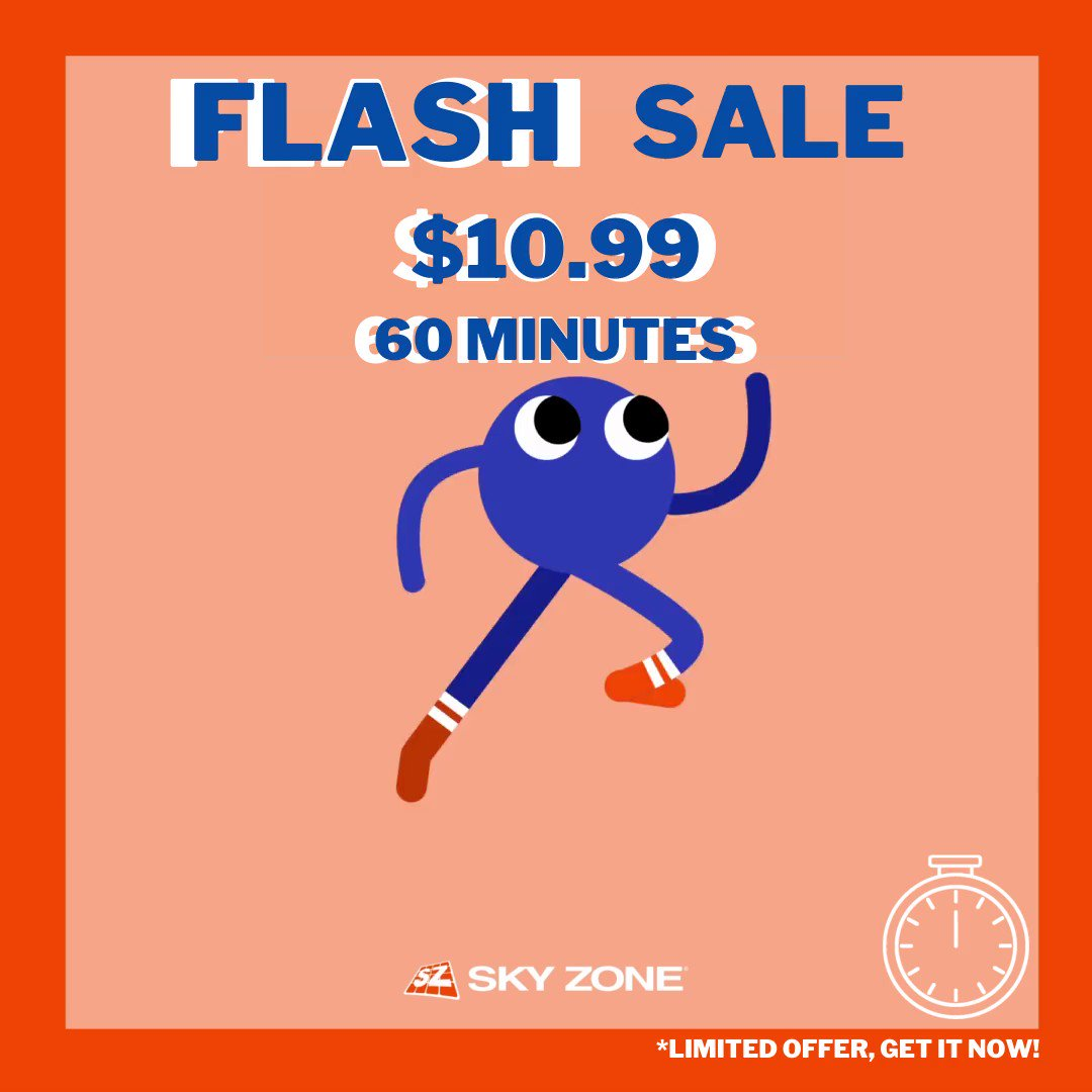 We CANNOT WAIT TO SEE YOU GUYS BACK AT JUMPING AGAIN! 😇 Hop right into fun from boredom... 😁  FLASH SALE: ▶️ 60 Minute Jumps: $10.99! ▶️ 90 Minute Jumps: $15.99! ▶️ 120 Minute Jumps: $20.99!  #SkyZone #SafetyProtocols #SafetyFirst #FunAndPlay #Skyzone #Summers #Game https://t.co/PUmlv9MwK3
