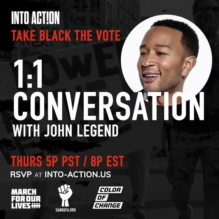On the 55th Anniversary of the Voting Rights Act, join me and @StaceyAbrams in discussion about the history of voter suppression, its current manifestations and the actions we can take to Take Black the Vote. RSVP: into-action.us. @AMarch4OurLives #IntoAction