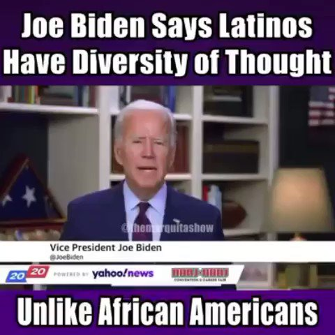 """#Latinos are diverse unlike the #AfricanAmerican Community."" #JoeBiden2020 #Hispanicpic.twitter.com/6mdSQ6GUV7"