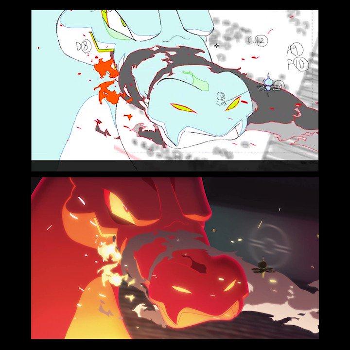 【#薄明の翼 最終話公開記念➁】🎉特別映像公開🎉第7話「空」のポケモンバトルの線撮動画を公開!Golgoさんの原画です✨本編と見比べながらお楽しみください👀▽本編はこちら#ダンデ#リザードン#ポケモン剣盾